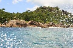Beautiful Huge granite boulders on Curieuse Island Stock Image