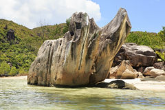 Beautiful Huge granite boulders on Curieuse Island Royalty Free Stock Photography