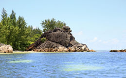 Beautiful Huge granite boulders on Curieuse Island Royalty Free Stock Image