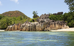Beautiful Huge granite boulders on Curieuse Island in Indian Ocean. Stock Images