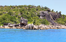 Beautiful Huge granite boulders on Curieuse Island in Indian Ocean. Royalty Free Stock Photos