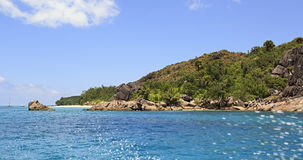 Beautiful Huge granite boulders on Curieuse Island in Indian Ocean. Royalty Free Stock Images