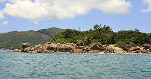 Beautiful Huge granite boulders on Curieuse Island in Indian Ocean. Royalty Free Stock Photo