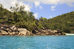 Beautiful Huge granite boulders on Praslin Island Royalty Free Stock Photo