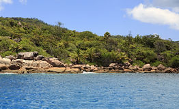 Beautiful Huge granite boulders on Praslin Island in Indian Ocean. Royalty Free Stock Image