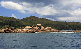 Beautiful Huge granite boulders on Praslin Island in Indian Ocean. Stock Images