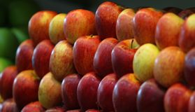 Red apples in rack. Beautiful Huge Red apples in rack in supermarket for sale royalty free stock images