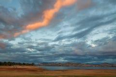 Beautiful Hume Lake amongst Victorian countryside hills. At sunset stock photos