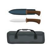 Beautiful hunting knife with big bag vector illustration. Stock Photos