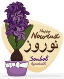 Beautiful Hyacinth Plant with Flowers or Sonbol for Nowruz Celebration, Vector Illustration Royalty Free Stock Image