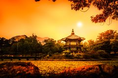 Beautiful Hyangwonjeong pavilion on an artificial island -Seoul stock images
