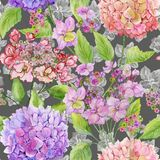 Beautiful hydrangea flowers with green leaves on gray background. Seamless floral pattern in soft colors. Watercolor painting. Hand painted illustration vector illustration