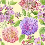 Beautiful hydrangea flowers with green leaves on light yellow background. Seamless floral pattern. Watercolor painting. Hand painted illustration. Fabric royalty free illustration