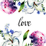 Beautiful Hydrangea and Lily flowers with title love Stock Photo