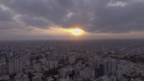Beautiful hyper aerial shots at the sunset stock video footage