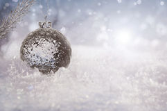 Beautiful ice ball on real snow outdoors Royalty Free Stock Photo
