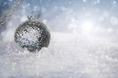 Beautiful ice ball on real snow outdoors Royalty Free Stock Photos