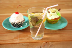 Beautiful ice cream and drinks on the wooden table Stock Image