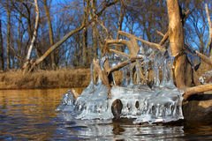 Beautiful Ice Formations Illinois. Natural ice sculptures along the Kishwaukee River in northern Illinois Stock Image