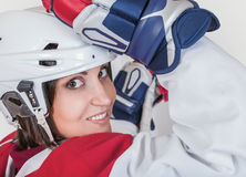 Beautiful ice hockey female player fashion portrait Stock Photos