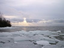 Curonian spit in winter ice, Lithuania Royalty Free Stock Photography