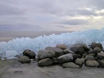 Curonian spit in winter ice, Lithuania Royalty Free Stock Photo