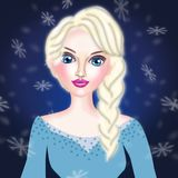 Beautiful ice queen in cold background stock illustration