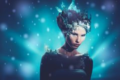 Beautiful ice queen in a falling snow.  Royalty Free Stock Images