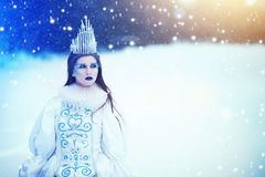 Beautiful Ice Queen in Winter Wonderland. Portrait of pretty ice princess in fantasy story tale stock image