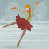 Beautiful ice skater. Vector illustration in a retro style with beautiful woman skate on ice Stock Images