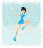 Beautiful ice skater. Illustration Stock Image