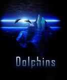 Beautiful Iceberg Night Ocean with Pod of Dolphin Stock Image