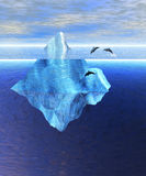 Beautiful Iceberg in Ocean with Pod of Dolphins Stock Images