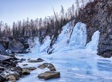 Beautiful icefall from frozen spring water. River Uda. Tofalaria. Irkutsk region stock photography