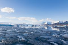 Beautiful Iceland winter lagoon skyline Royalty Free Stock Photos