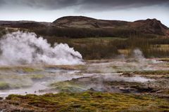 Beautiful Icelandic landscape with geysir.  Stock Image