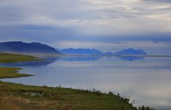 Beautiful Icelandic landscape with lake and mountains Stock Photos