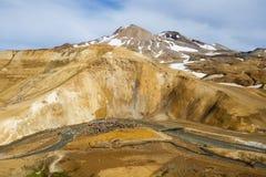 Beautiful Icelandic landscape in wizarding mountains. Kerlingarfjöll, Iceland. Beautiful Icelandic landscape in magical mountains. The mountains are rainbow Stock Image