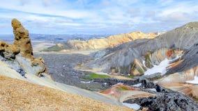 Beautiful Icelandic landscape. Mountains with snow. Landmannalaugar, Fjallabak Nature Reserve.  Royalty Free Stock Image