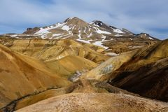 Beautiful Icelandic landscape in wizarding mountains. Kerlingarfjöll, Iceland. Beautiful Icelandic landscape in magical mountains. The mountains are rainbow Royalty Free Stock Photography