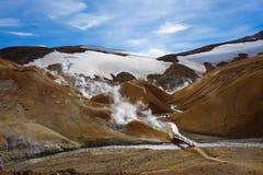 Beautiful Icelandic landscape in wizarding mountains. Kerlingarfjöll, Iceland. Beautiful Icelandic landscape in magical mountains. The mountains are rainbow Royalty Free Stock Photos