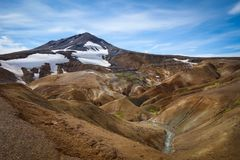 Beautiful Icelandic landscape in wizarding mountains. Kerlingarfjöll, Iceland. Beautiful Icelandic landscape in magical mountains. The mountains are Stock Images