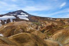 Beautiful Icelandic landscape in wizarding mountains. Kerlingarfjöll, Iceland. Beautiful Icelandic landscape in magical mountains. The mountains are rainbow Stock Images