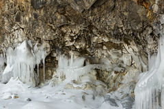 Beautiful icicles on rocks. Royalty Free Stock Photography