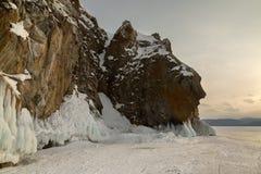 Beautiful icicles on rocks. Winter landscape in Lake Baikal. Royalty Free Stock Image