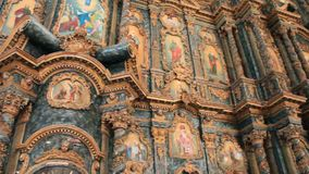 Beautiful iconostasis with ancient icons in wooden frame stock video footage