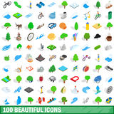 100 beautiful icons set, isometric 3d style. 100 beautiful icons set in isometric 3d style for any design vector illustration Stock Photo