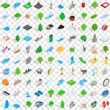 100 beautiful icons set, isometric 3d style. 100 beautiful icons set in isometric 3d style for any design vector illustration Royalty Free Stock Photography