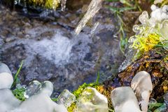 Beautiful icy spring in sunny day. Outdoor stock photography
