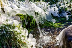 Beautiful icy spring in sunny day. Outdoor stock images